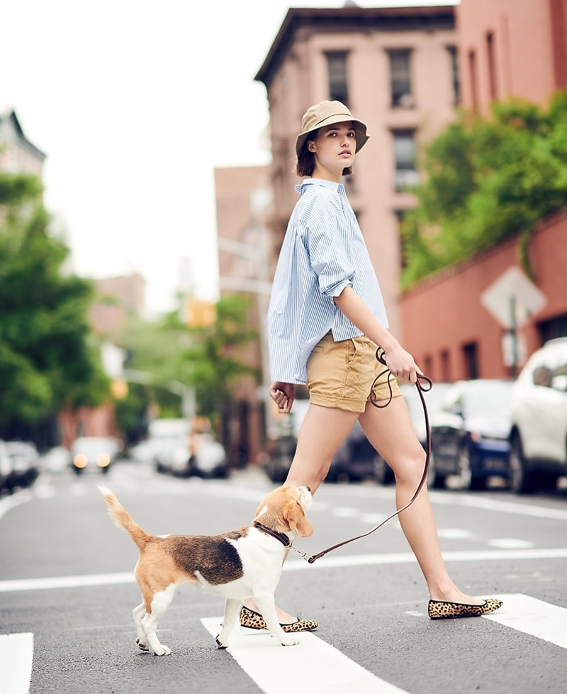 """J. Crew Oversized Button-Up in Cotton Poplin Stripe, 4"""" Stretch Chino Short, Canvas Bucket Hat and Evie Ballet Flats in Leopard Print Calf Hair"""