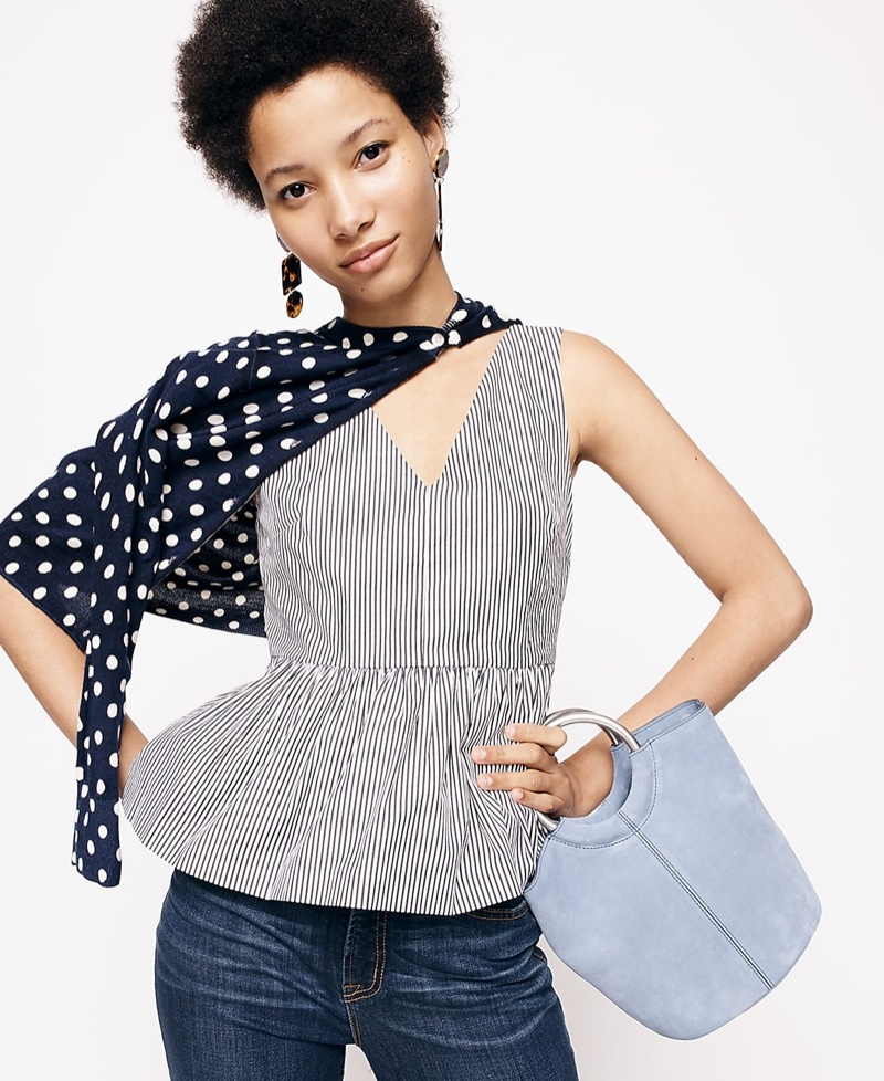 """J. Crew Striped Sleeveless Peplum Top in Stretch Cotton Poplin, Wool Jackie Cardigan Sweater in Polka Dots, 9"""" High-Rise Toothpick Jean in Classic Rinse and Bracelet Bucket Bag in Italian Suede"""