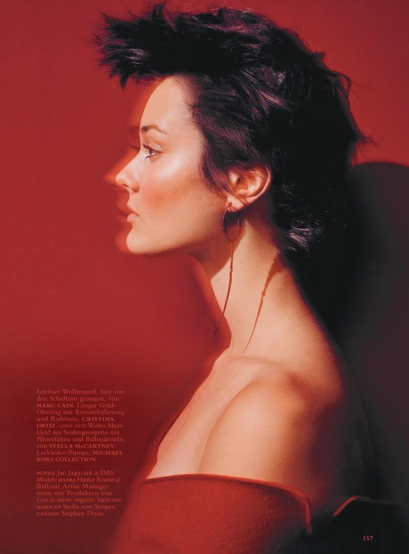 Jac Jagaciak Models Red-Hot Looks in Harper's Bazaar Germany