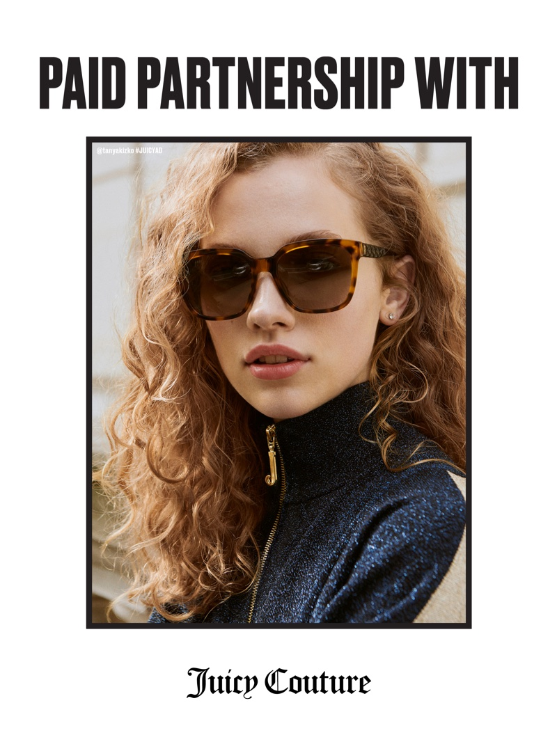 Tanya Kizko wears sunglasses in Juicy Couture fall-winter 2018 campaign