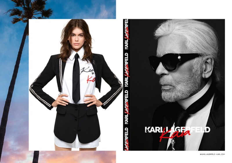 An image from the Karl Lagerfeld x Kaia Gerber campaign