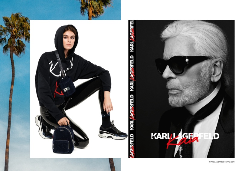 Model Kaia Gerber wears a hoodie in Karl Lagerfeld x Kaia Gerber campaign