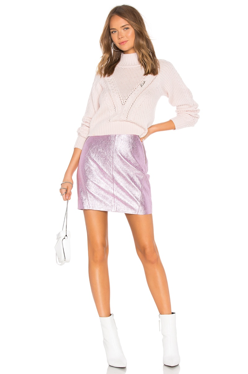 Karl x Kaia Cropped Sweater $345 and Leather Skirt $395