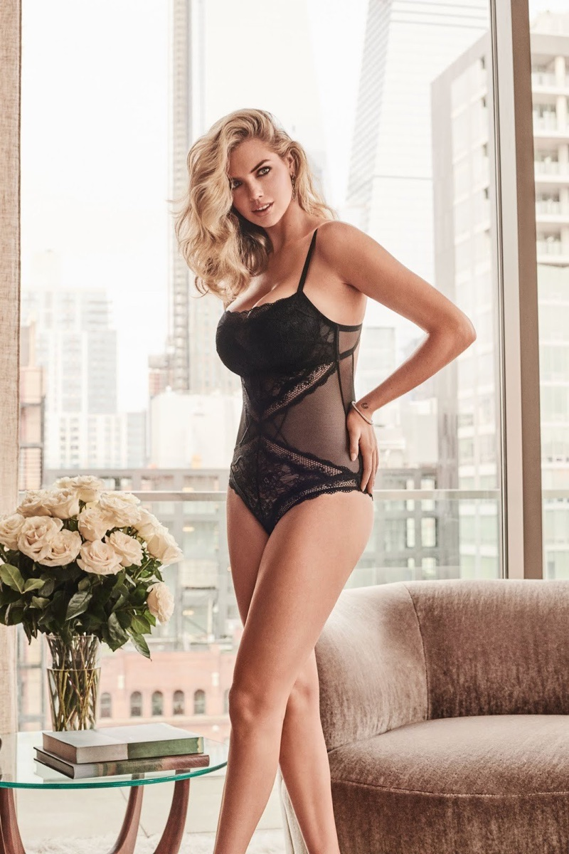 Kate Upton poses in black bodysuit for Yamamay fall-winter 2018 campaign