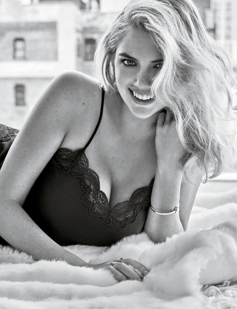 Photographed in black and white, Kate Upton appears in Yamamay fall-winter 2018 campaign