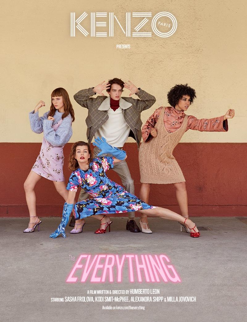 Milla Jovovich, Alexandra Shipp, Kodi Smit-McPhee and Sasha Frolova front Kenzo fall-winter 2018 campaign