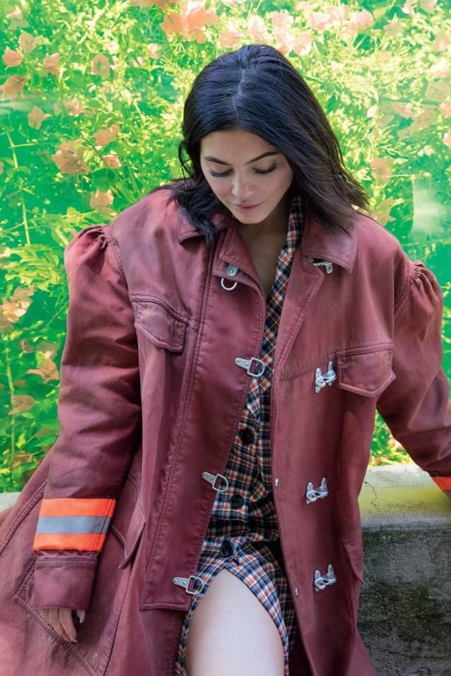 Posing in Calvin Klein, Kylie Jenner wears jacket and plaid shirt