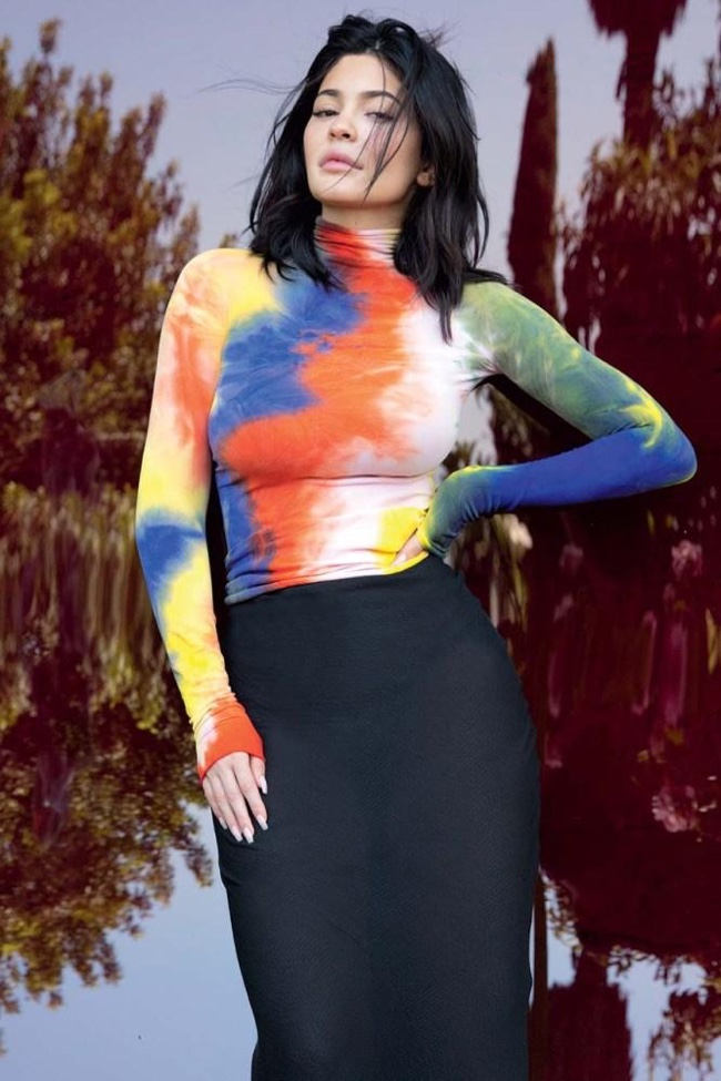 Posing in a tie-dye look, Kylie Jenner wears body conscious ensemble