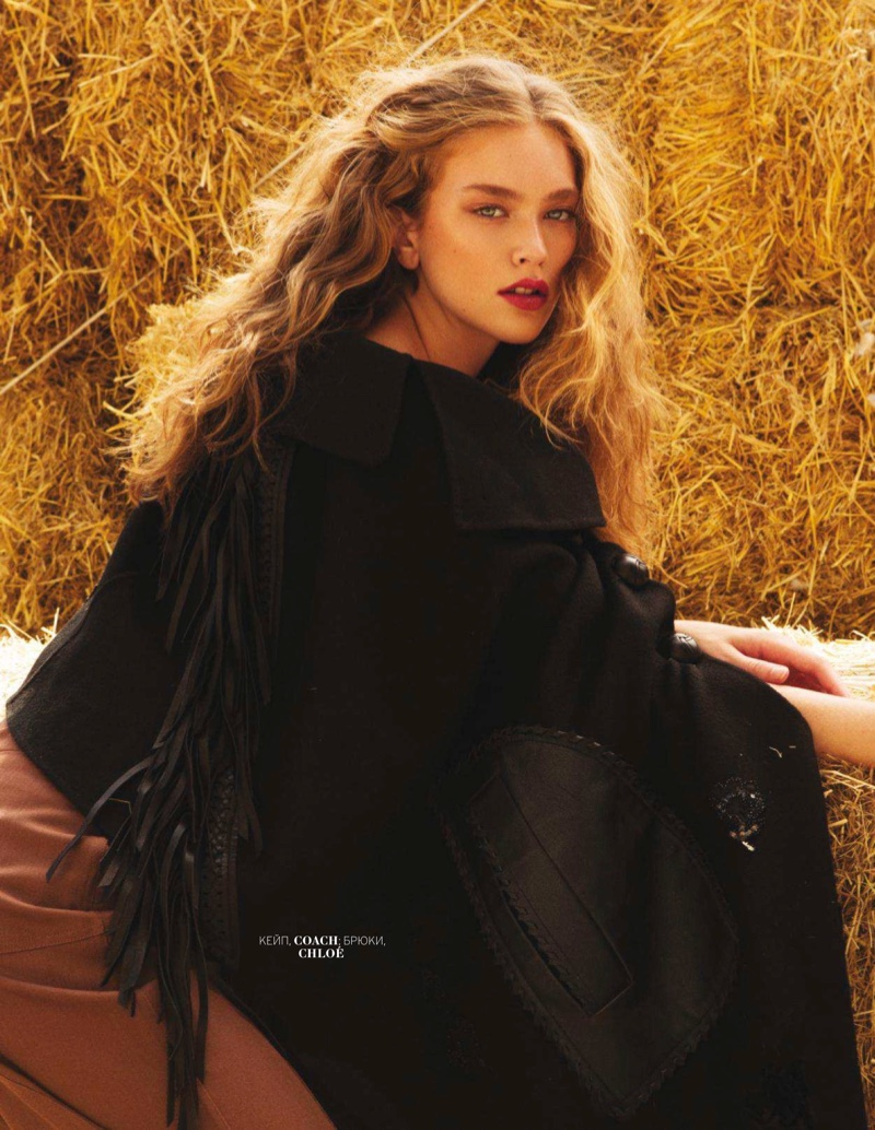 Lindsay Whidby Wears Western Glam Looks for Marie Claire Russia