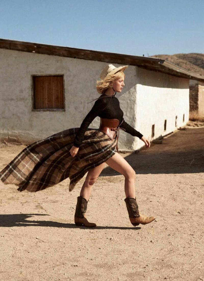 Lou Schoof Models Western Style in Harper's Bazaar Australia