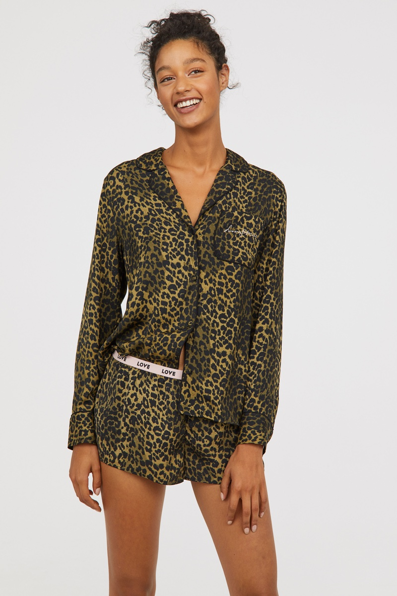 Love Stories x H&M Patterned Satin Pajamas in Leopard Print $49.99