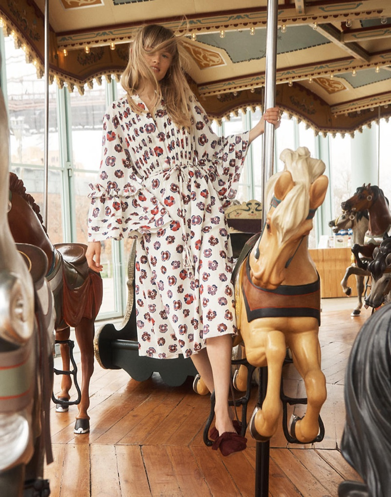 Madewell x Karen Walker Floral Fantasia Ruffled Dress and Madewell The Remi Bow Mule