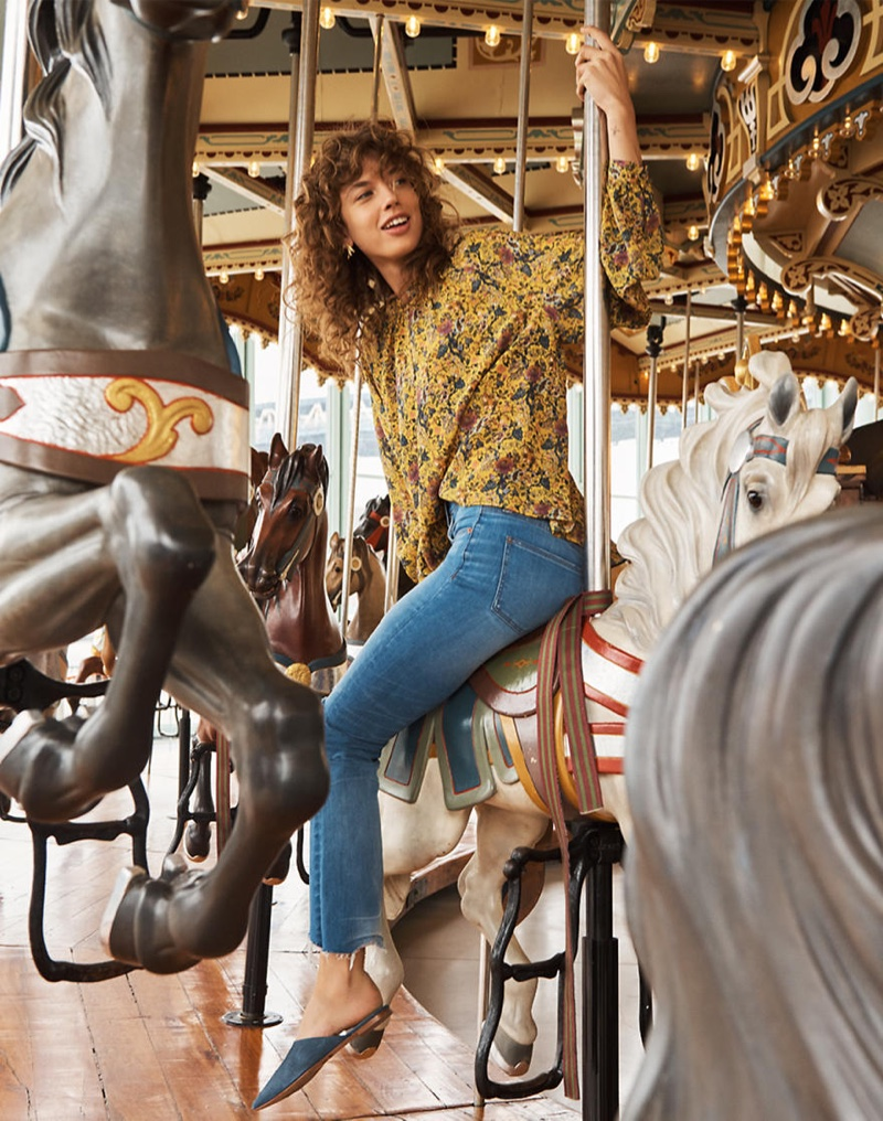 Madewell x Karen Walker Silk Floral Gennaker Top, Madewell Cali Demi-Boot Jeans in Bronson Wash: Button-Front Edition and The Remi Mule in Stamped Lizard