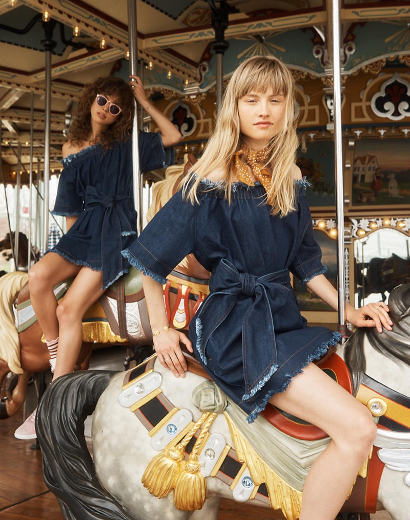 (Front) Madewell x Karen Walker Fathom Denim Off-the-Shoulder Dress and Madewell Bandana (Back) Madewell x Karen Walker Fathom Denim Off-the-Shoulder Dress and Helter Skelter Sunglasses