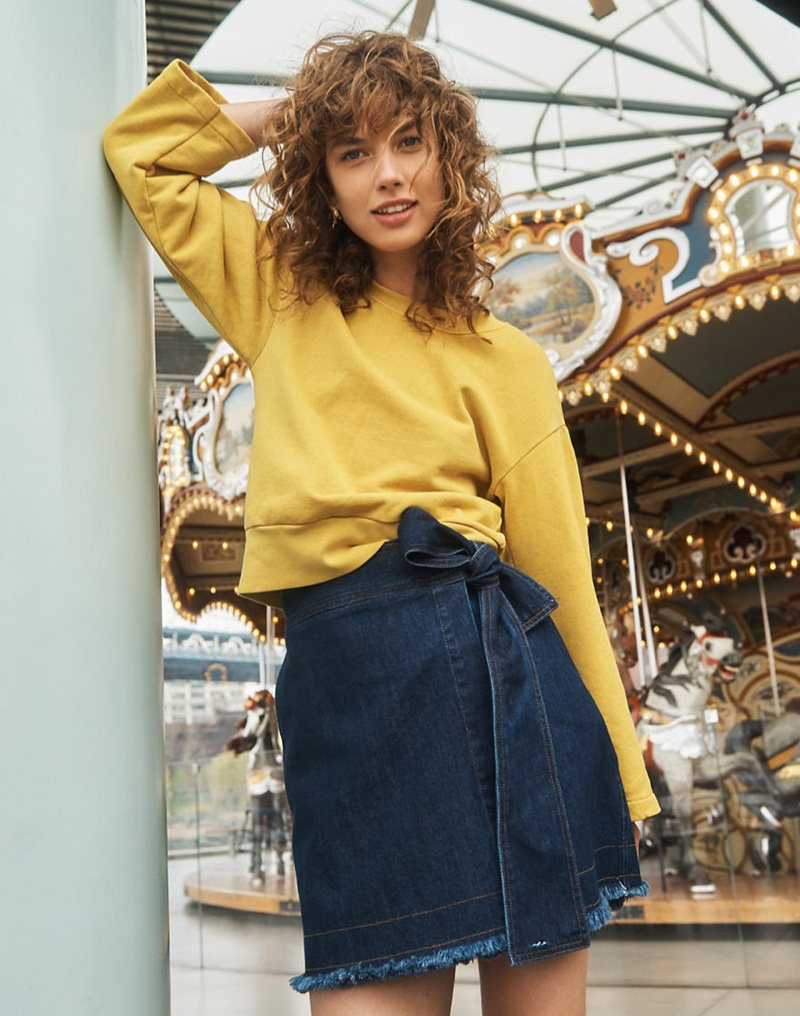 Madewell x Karen Walker Garment-Dyed Sweatshirt and Denim Killick Skirt