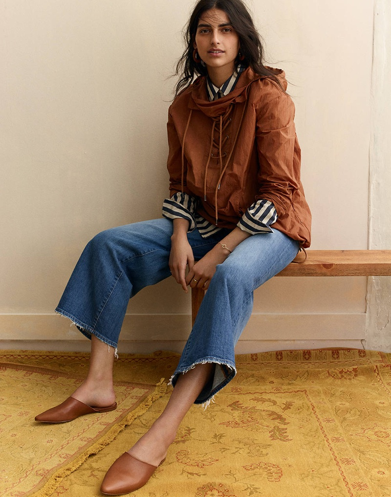 Madewell Lace-Up Popover Jacket, Tunic Shirt in Hampden Stripe, Wide-Leg Crop Jeans in Finney Wash and The Remi Mule