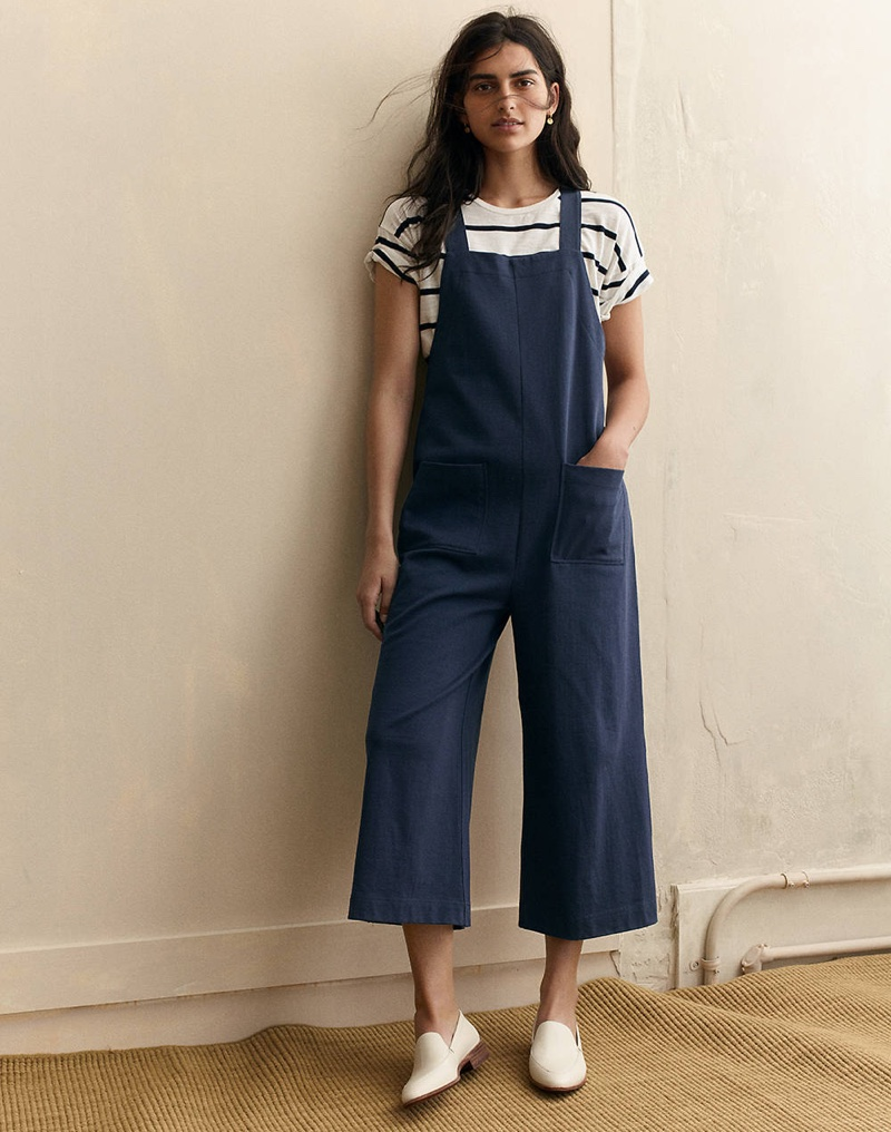 Madewell Whisper Cotton Crewneck Tee in Creston Stripe, Knit Patch Pocket Overalls and The Frances Loafer