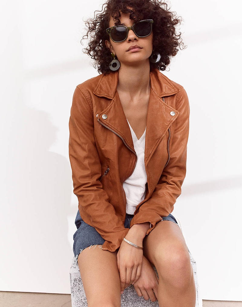 Madewell Washed Leather Motorcycle Jacket, Texture & Thread Wrap Top, Rigid Denim Straight Mini Skirt: Reworked Edition and Venice Flat-Frame Sunglasses