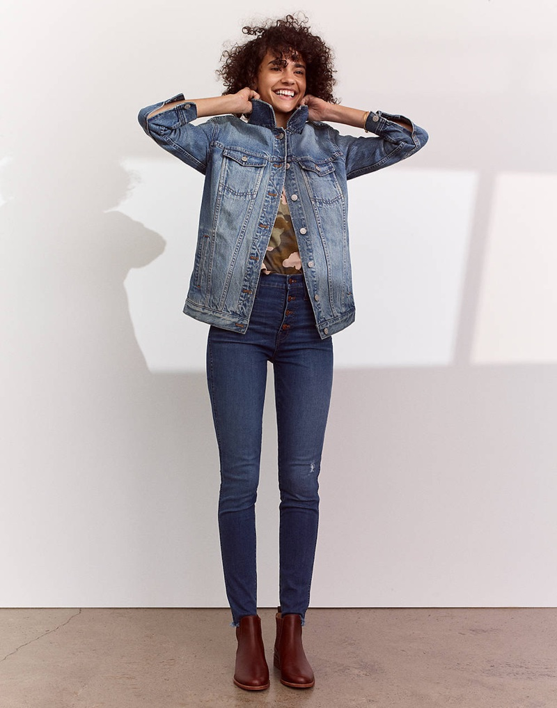 """Madewell The Oversized Jean Jacket in Capstone Wash, Easy Crop Tee in Cottontail Camo, 10"""" High-Rise Skinny Jeans in Hanna Wash and The Ainsley Chelsea Boot"""