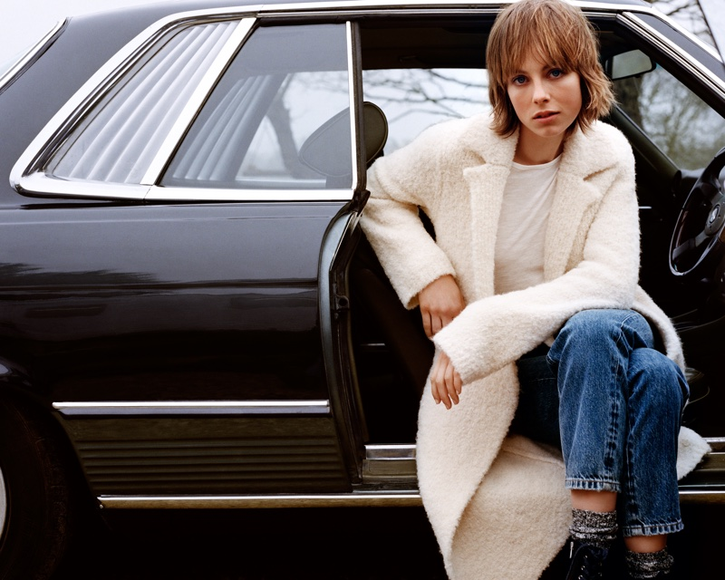 Edie Campbell poses in outerwear for Marc O'Polo fall-winter 2018 campaign