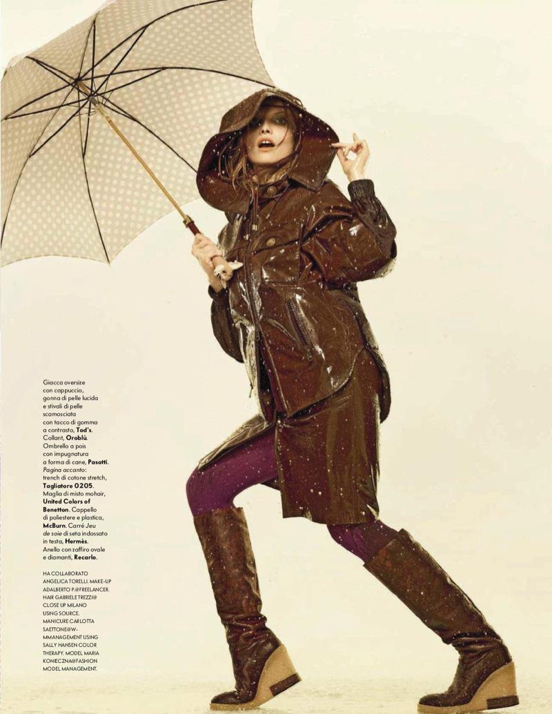 Maria Konieczna Models Chic Rain Coats in Vanity Fair Italy