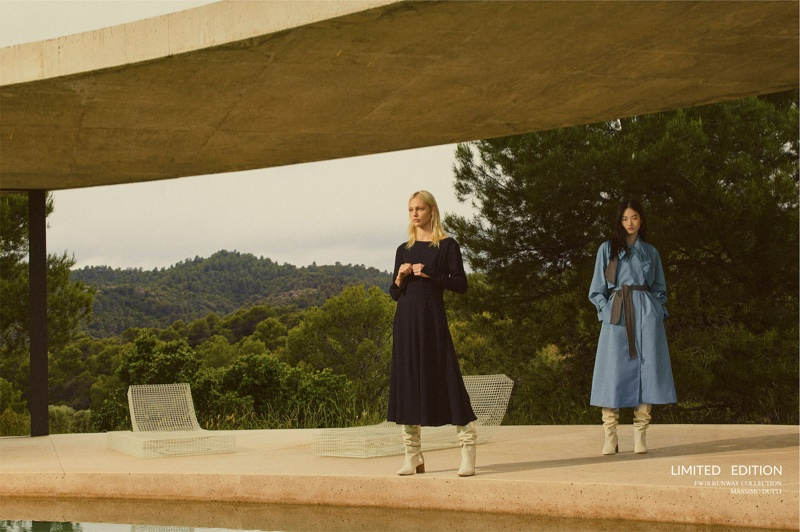 Sasha Pivovarova and Hyunji Shin pose for Massimo Dutti fall-winter 2018 limited edition collection