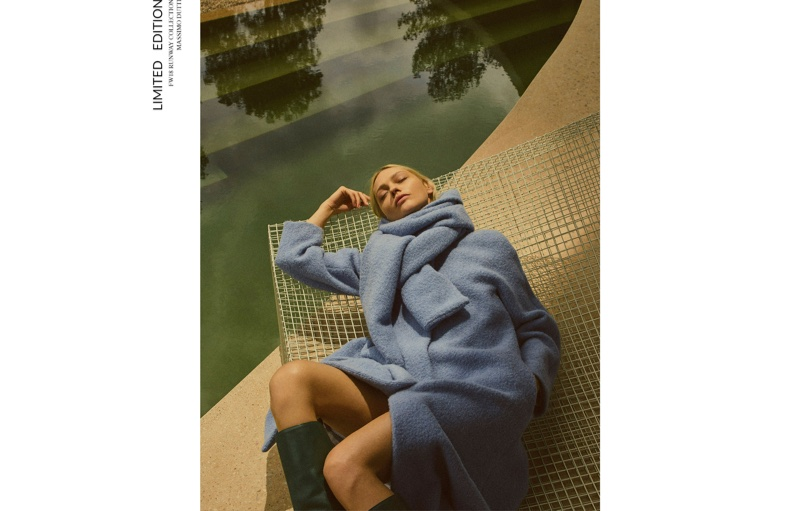 Sasha Pivovarova cozies up in blue coat from Massimo Dutti fall 2018 limited-edition collection