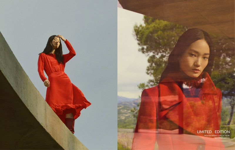 Model Hyunji Shin poses in red styles from Massimo Dutti fall 2018 limited edition collection