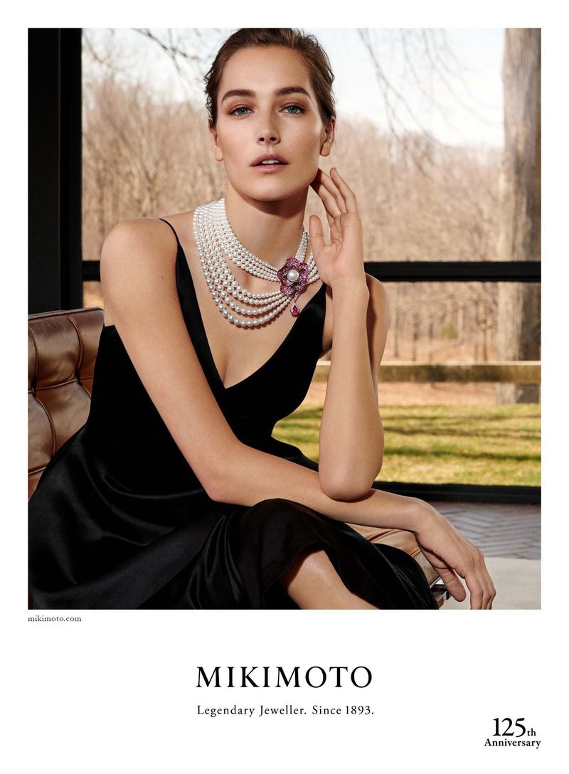 Model Josephine le Tutour wears pearl necklaces in Mikimoto Jewelry campaign