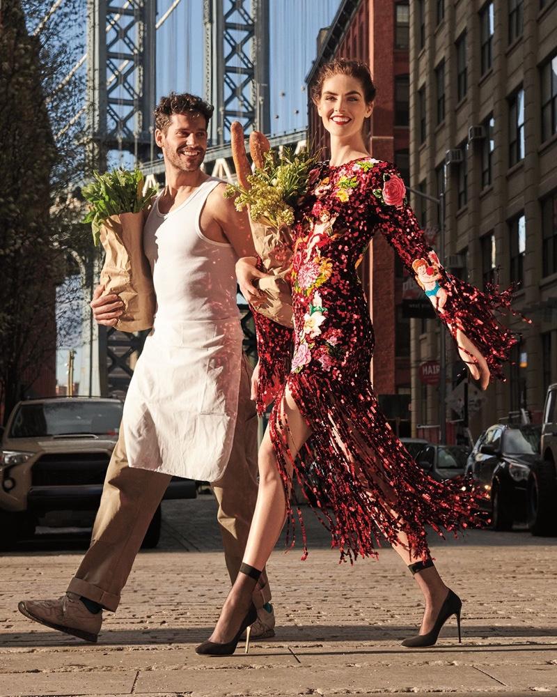 Dolce & Gabbana Long-Sleeve Paillette Sequin Rose-Patch Fringe Bottom Evening Dress