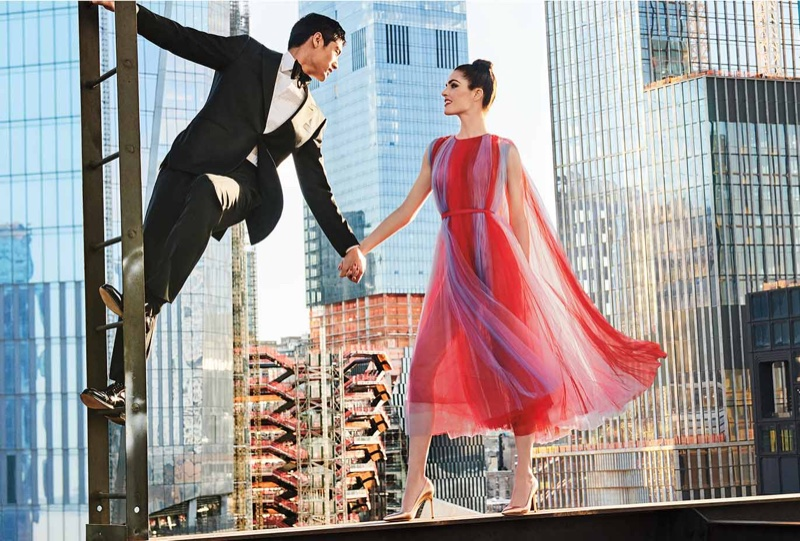 Carolina Herrera Jewel-Neck Sleeveless Striped Tulle Evening Gown