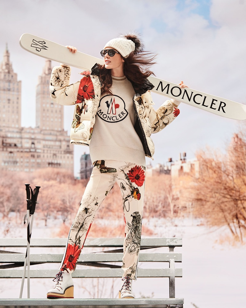 Moncler Caille Floral Print Puffer Jacket, Logo Embroidered Sweatshirt and Floral & Bird Print Straight-Leg Track Pants