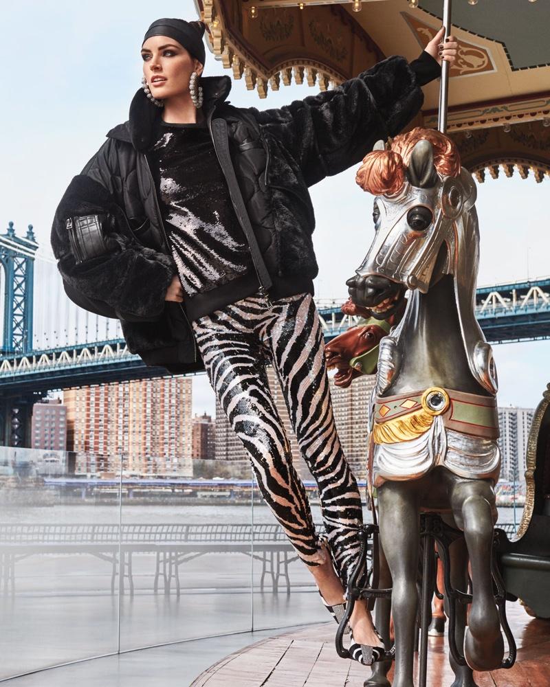 Tom Ford Patchwork Silk Taffeta Puffer Bomber Jacket, Crewneck Long Sleeve Sequin Sweatshirt, Zebra Stripe Sequin Leggings and Zebra Animal-Print Velvet Slingback Pumps