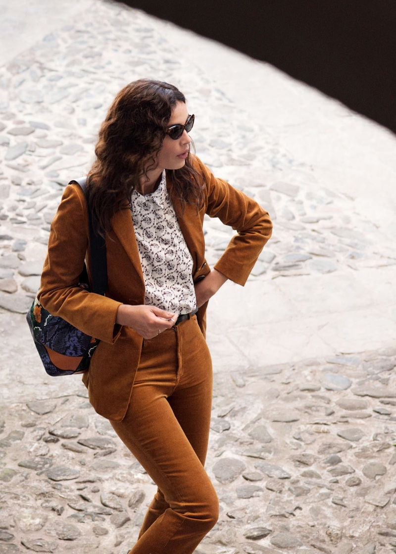 & Other Stories Corduroy Blazer, Cotton Floral Shirt, Kick Flare Corduroy Trousers and Rounded Cat Eye Sunglasses