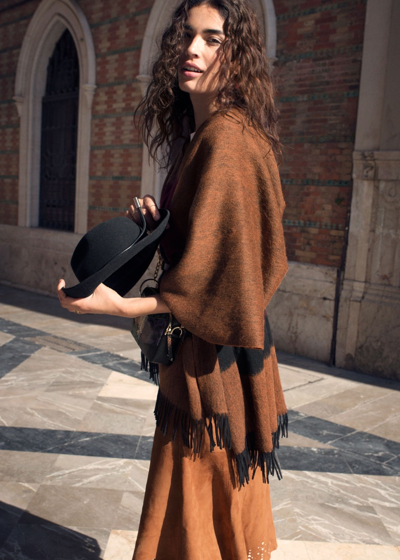 & Other Stories Wool Blanket Poncho, Pleated Suede Midi Skirt and Leather Ribbon Wool Fedora