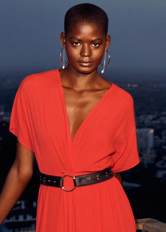 & Other Stories Twist Knot Midi Dress and Studded Waist Belt