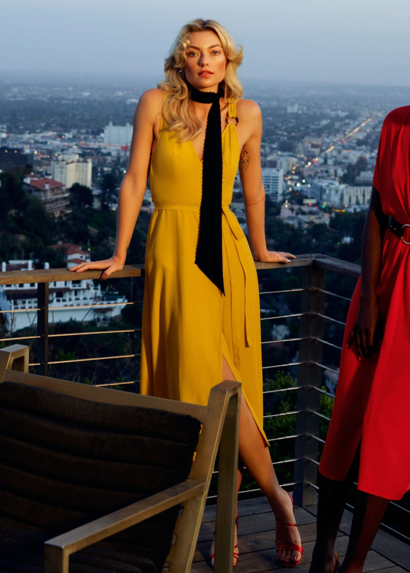 & Other Stories Tortoise O-Ring Wrap Midi Dress and Studded Strappy Stiletto Heels