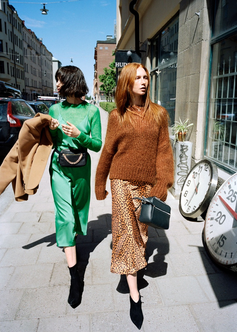 (Left) & Other Stories Midi Slip Dress, Sheer Wool Blend Sweater and Grainy Leather Chain Beltbag (Right) & Other Stories Wool Blend Chunky Knit Sweater, Sheer Leopard Midi Dress and Pointed Stiletto Boots