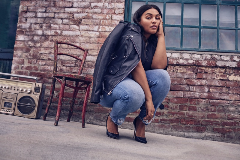 Paloma Elsesser poses in 7 For All Mankind fall-winter 2018 campaign