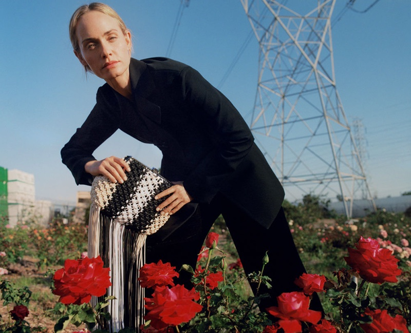 Posing outdoors, Amber Valletta fronts Proenza Schouler fall-winter 2018 campaign