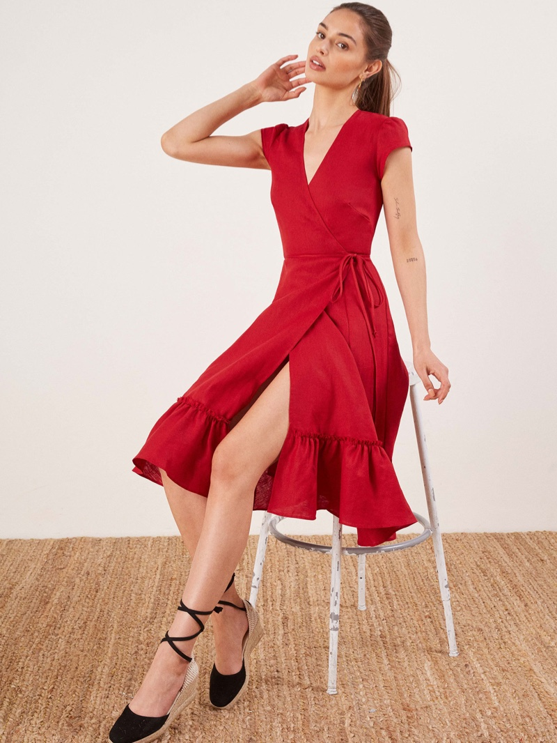 Reformation Apricot Dress in Cherry $153 (previously $218)