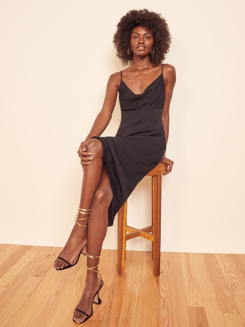 Reformation Astrid Dress in Black $158