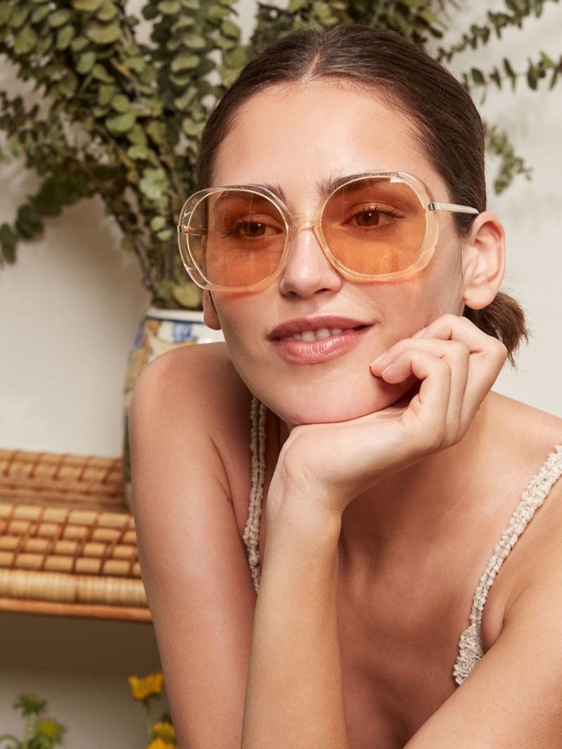 Reformation Bianca Sunglasses in Peach $98