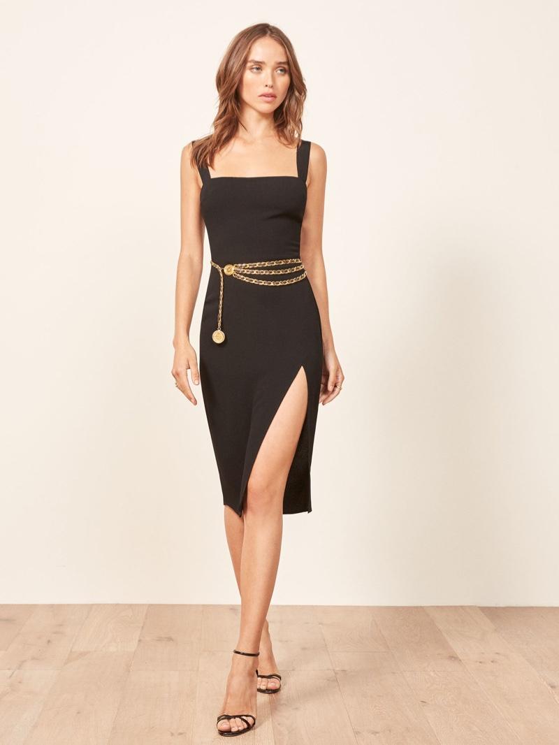 Reformation Christina Dress in Black $198