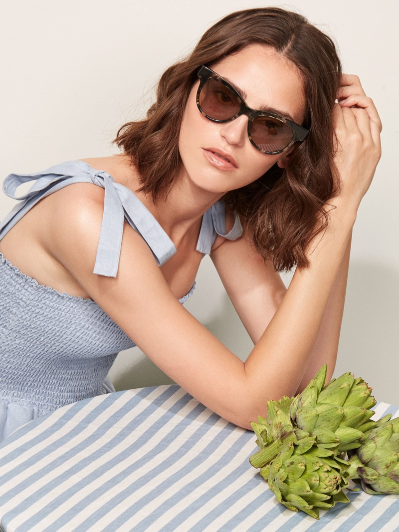 Reformation Nina Sunglasses in Speckle $98