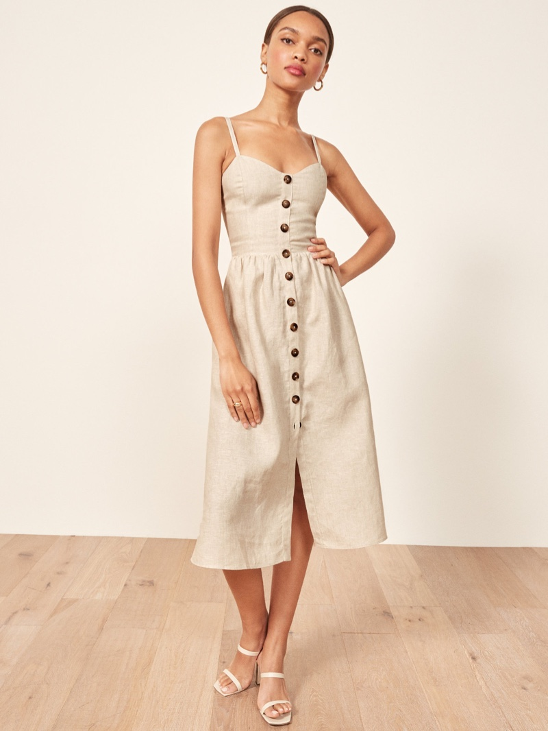 Reformation Thelma Dress in Sand $158 (previously $198)