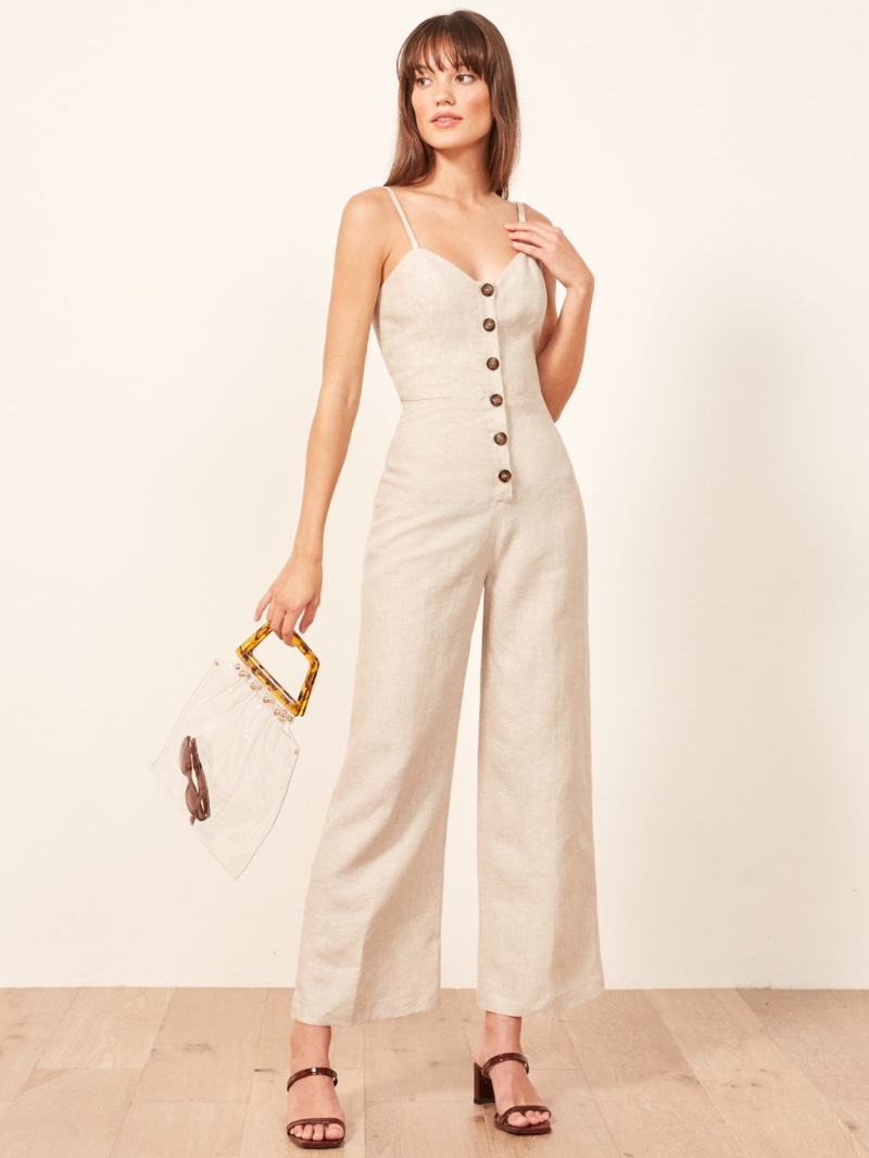 Reformation Torta Jumpsuit in Sand $130.80 (previously $218)