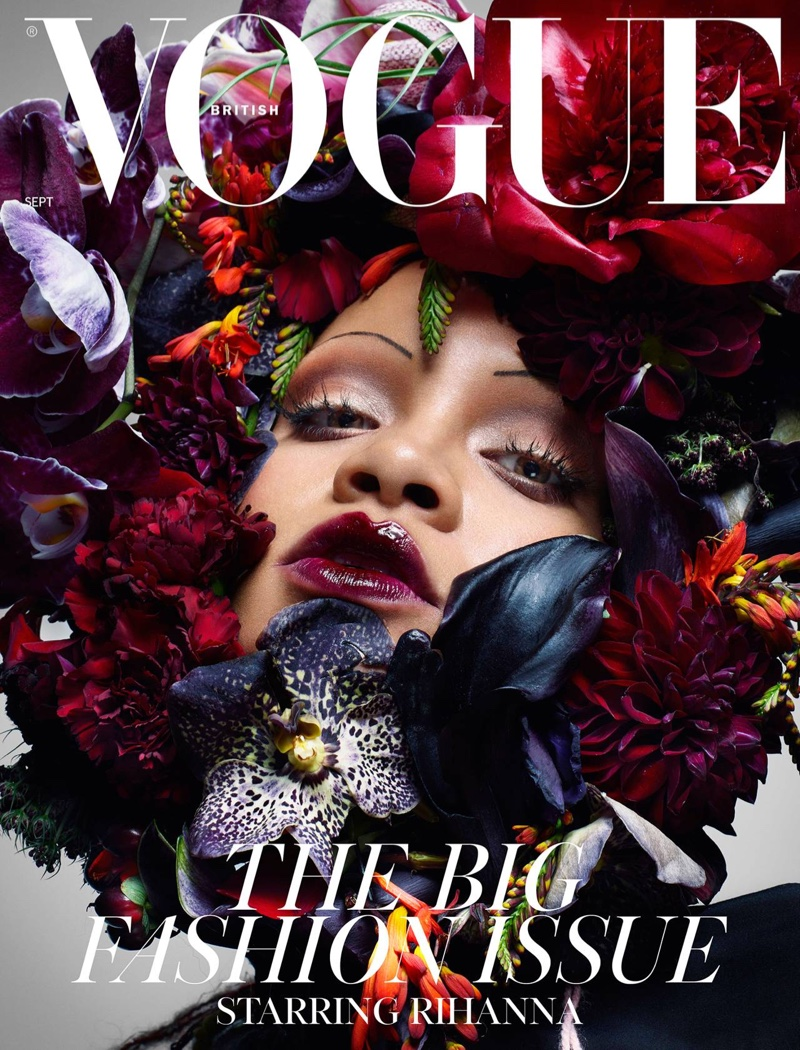 Singer Rihanna wears flower crown on Vogue UK September 2018 Cover