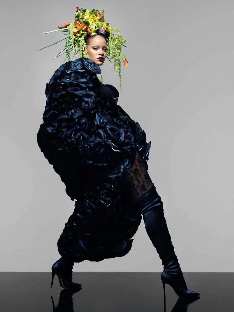 Rihanna poses in Noir Kei Ninomiya floral dress and Gianvito Rossi boots