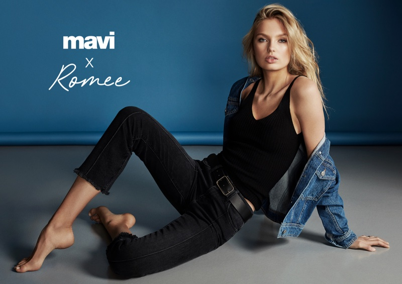 Wearing denim, Romee Strijd fronts Mavi fall-winter 2018 campaign